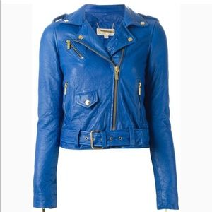 Blue Leather Moto Jacket